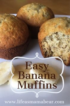 Easy Banana Muffins For Your Not So Easy Life - Life as Mama Bear A simple banana muffin recipe that you can whip up quickly and it is SO tasty! Don't let those bananas that are past their prime go to waste! Simple Muffin Recipe, Banana Muffin Recipe Easy, Recipe For Bananna Muffins, Banana Recipes Easy Quick, Recipes With Bananas Healthy, Desserts With Bananas, Homemade Muffins, Healthy Desserts, Healthy Muffins