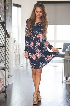 e35bda3e50 All of Our Days Floral Dress Navy - The Pink Lily Floral Dress Outfits, Navy