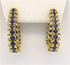 18k Gold Sapphire Hoop Earrings Featured in our upcoming auction on December 14, 2015 11:00AM EST!