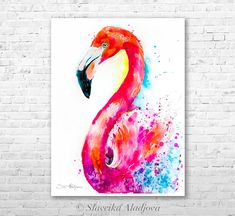 Flamingo watercolor painting print by Slaveika Aladjova art