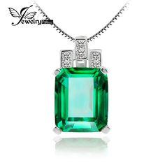Jewelrypalace高級6ct作成緑色ナノロシアエメラルドペンダント925スターリングシルバーペンダントファッションジュエリーチェーンなし