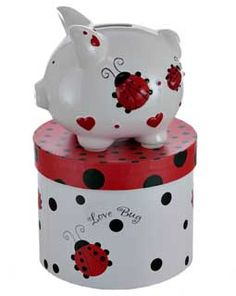 Lucky little lady bugs will have her willingly saving all of her pennies for a rainy day. Comes inside a matching gift box that says Love Bug on the sides.