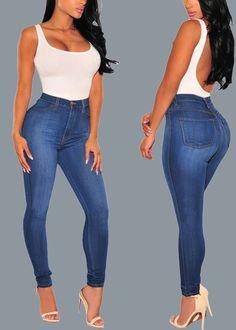 26e31abb5 Compre Calça Feminina Skinny Jeans Azul Escuro Cintura Alta | UFashionShop  Jeans Azul Escuro, Jeans