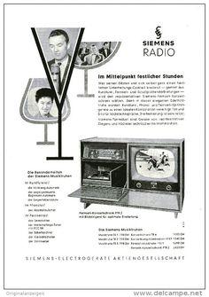Original-Werbung/ Anzeige 1957 - 1/1-SEITE SIEMENS FERNSEH - KONZERTSCHRANK FTR / FOTO MAX GREGER - 2 - ca. 180 x 240 mm
