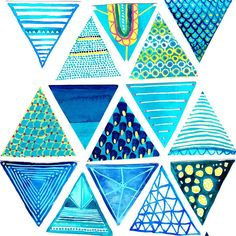 Thinking about what to do & how to arrange my little hand painted triangles...I have about 30 of them, each painted with its own pattern 🔼🔽🔼 🔽 #help #whattodo #creative #pattern #art #artist #instaart #ideas #inspiration #myart #painting #illustration #lordydordie