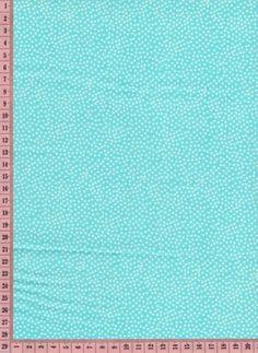 Tissu Turquoise mini pois blancs