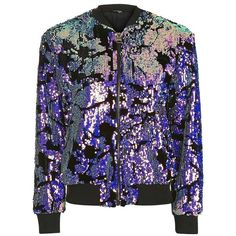 Women's Topshop Ariel Sequin Velvet Bomber Jacket (€135) ❤ liked on Polyvore featuring outerwear, jackets, sequin bomber jacket, shiny jacket, bomber style jacket, flight jacket and party jackets