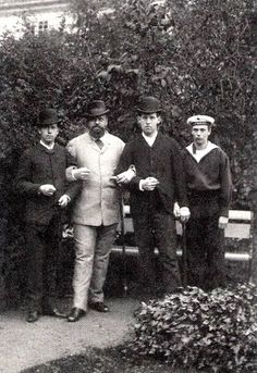 Tsarevich Nicholas (later Tsar Nicholas II), Tsar Alexander III, Prince George of Greece and Grand Duke George Alexandrovich.