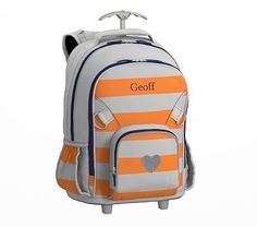 Fairfax Rolling Backpack Stripe Gray/Orange with Navy Trim Glitter Heart