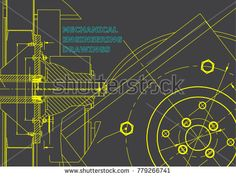 Technical illustration. Mechanical engineering. Background. Gray #bubushonok #art #bubushonokart #design #vector #shutterstock #technical #engineering #drawing #blueprint  #technology #mechanism #draw #industry #construction #cad