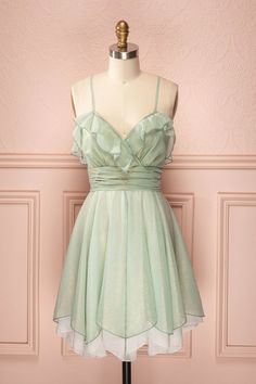 Fleur - Metallic mint dress with frills and laced back