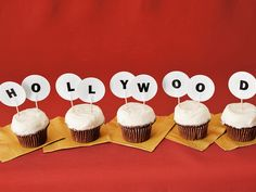 Re-create the famous Hollywood sign with these yummy looking cupcakes and toothpick letters. #CouchCritics