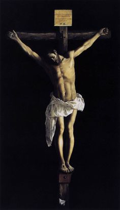 Francisco de Zurbaran, The Crucifixion, 1627 (Art Institute of Chicago) We contemplate, analyze and even fall in love with works . Religious Paintings, Religious Art, Caravaggio, Francisco Zurbaran, The Cross Of Christ, Spanish Painters, Catholic Art, Catholic Religion, Chiaroscuro