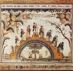 Ålderstrappan i kurbitsmåleri av Winter Carl Hansson i Danielsgården, Bingsjö, 1799. https://upload.wikimedia.org/wikipedia/commons/1/1e/Kurbits_1799.jpg