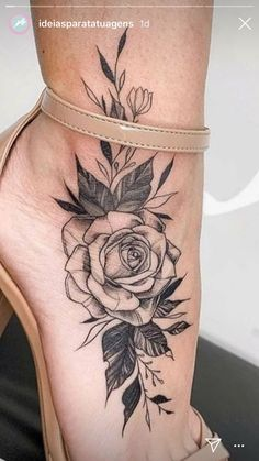 43 Ideas ankle foot tattoo ideas for 2020 Dream Tattoos, Rose Tattoos, Leg Tattoos, Flower Tattoos, Body Art Tattoos, Small Tattoos, Sleeve Tattoos, Crazy Tattoos, Butterfly Tattoos