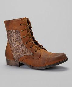 Take a look at this Tan Prima Lace Boot by Nature Breeze on #zulily today!