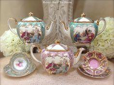 Purple Sadler Teapot, Turquoise green Sadler Teapot  https://www.facebook.com/HelensRoyalTeaHouse?ref=tn_tnmn  http://www.etsy.com/shop/HelensRoyalTeaHouse