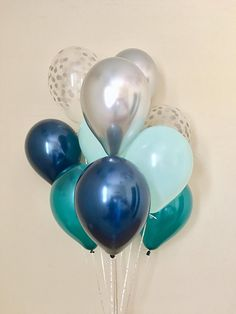 Navy Teal Mint Silver Chrome and Silver Confetti Look Latex Balloon~Blue First Birthday~Baby Shower~Bridal Shower~Wedding~Navy Teal Decor
