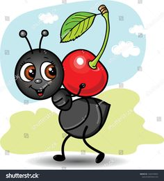 Find Cute Ant Carrying Cherry Stock Illustration stock images in HD and millions of other royalty-free stock photos, illustrations and vectors in the Shutterstock collection. Cute Little Drawings, Art Drawings For Kids, Drawing For Kids, Cartoon Drawings, Easy Drawings, Animal Drawings, Art For Kids, Ant Crafts, Rock Crafts