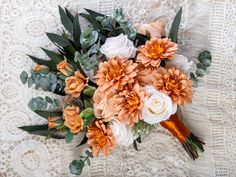 A stunning addition to make your special day one to remember. This orange bouquet not only looks fresh and realistic but will be a keepsake for a lifetime without the worries of wilting fresh flowers. This boho bouquet is made with high quality silk flowers such roses, dahlia, eucalyptus and preserved greenery. Flower Girl Bouquet, Silk Flower Bouquets, Flower Girl Basket, Silk Flowers, Wedding Ring Box, Card Box Wedding, Wedding Ideas, Fall Wedding Bouquets