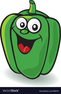 Pepper character vector image on VectorStock Vegetable Drawing, Vegetable Cartoon, Fruit Cartoon, Cartoon Faces, Baby Painting, Painting For Kids, Foam Sheet Crafts, Fruit Sketch, Funny Vegetables