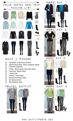 Here's the consolidated graphic with outfits & checklist of what I packed on my recent 4 day work trip to Minnesota. And a big ole pile of links to similar items. Hope this is helpful for anyone trave