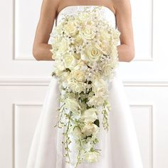 cascade bridal bouquet likes the fullness and style mix of flowers to green showing
