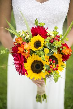 Bright+Gerbera+Daisy+and+Sunflower+Bouquet