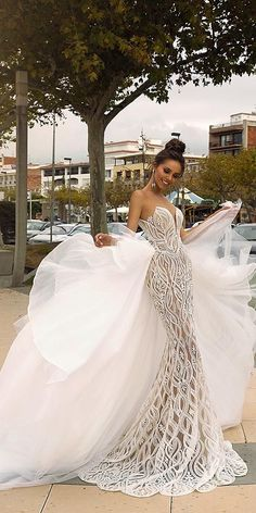 "Tina Valerdi ""Venera"" Amazing Embroidered Sleeveless Mermaid Wedding Dress / Bridal Gown with Strapless Illusion, Detachable Tulle Skirt and a Train. Collection ""Passion by Tina"" 2019 by Tina Valerdi"