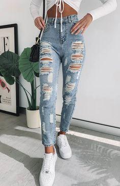 2020 Women Jeans Ragged Jeans Urban Jeans Vans Jeans rosewew - Ripped Jeans for women - Ideas of Ripped Jeans for women Ripped Jeans Style, Jeans And Vans, Ripped Skinny Jeans, Cute Ripped Jeans Outfit, Ragged Jeans, Maude, Striped Jeans, Blue Denim, Best Jeans