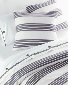 Reade Grey and White Stripe Duvet Cover and Sham