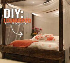 DIY: Loungebed van meerpalen   Eigen Huis & Tuin aflevering 23 - 28 januari 2017 Home And Living, Diys, Toddler Bed, Bedroom, Sewing, Garden, Furniture, Home Decor, Atelier