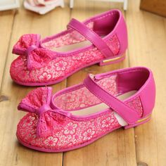 Hot Pink Lace Flower Girl Girls Pageant Party Dress Sandals Shoes SKU-133455