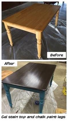 I painted my old kitchen table with general finishes gel stain brown mahogany and homemade chalk paint legs. It came out pretty good considering in was my first time painting a large piece of furniture. Lightly sand the furniture before and after each coa Refurbished Furniture, Repurposed Furniture, Furniture Makeover, Mahogany Furniture, Upcycled Furniture Before And After, Old Kitchen Tables, Kitchen Table Makeover, Diy Kitchen, Kitchen Paint