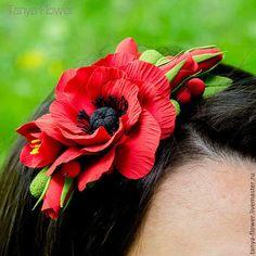 Диадемы, обручи ручной работы. Ярмарка Мастеров - ручная работа. Купить Ободок для волос с цветами - Красный мак. Handmade.