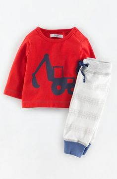 Mini Boden Print T-Shirt & Stripe Pants (Baby Boys) available at #Nordstrom