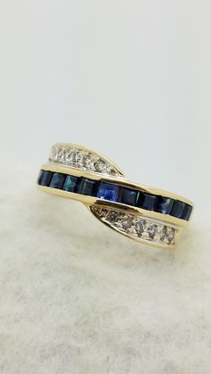 Jewelry | Product Categories | Brickell Jewelers 14K YELLOW GOLD CROSSOVER ROUND & PRINCESS Cut Pavé & CHANNEL-SET SAPPHIRE DIAMOND BAND ring