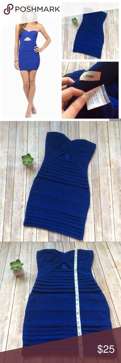 Tobi Diana Strapless Sexy Bodycon Dress size Small Like new gorgeous bandage Bodycon Strapless blue dress with cutout in the front. ❌no trades, holds, or lowball offers. ✅Clean and smoke free home, quick shipping, bundle discount, always! 🎁Free gift with $15+ bundle. Tobi Dresses Mini