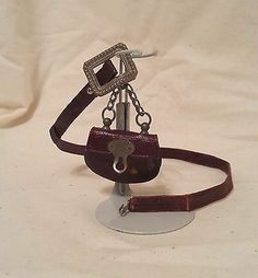 VERY RARE Antique French Fashion Doll Leather Purse on Belt - HARD TO FIND!!!