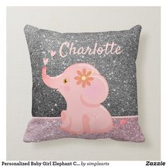 Shop Personalized Baby Girl Elephant Cute Baby Throw Pillow created by simplearts. Cute Baby Elephant, Elephant Birthday, Elephant Throw Pillow, Toddler Pillow, Baby Girl Nursery Decor, Nursery Room, Kids Pillows, Personalized Baby, Decorative Throw Pillows
