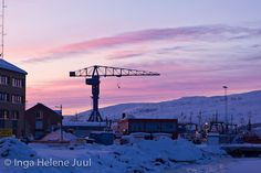 Kirkenes as the sun sets in February