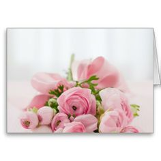 Will you be my Bridesmaid Bouquet Greeting card, pink rose flowers