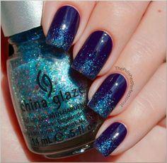 Winter Nail Art  - Navy Blue with Light Blue Sparkles ! - DiamondCosmeticsCrushedVelvetChinaGlazeLiquidCrystal.jpeg