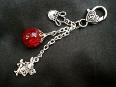 Alice White Rabbit Red Crackle Glass Marble Queen Heart Keychain