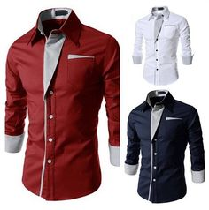 Cheap Casual Shirts, Buy Directly from China Suppliers:Shirts Patchwork Regular Camisas Hot Sale! 2015 New Mens Shirt Casual Slim Fit Stylish Color:white,black,red,navy Size:m