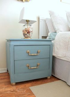 Coastal Turquoise Night Stands Makeover with Chalk Paint - AFTER… - Custom Mix of ASCP Aubusson Blue, Duck Egg Blue and Pure White
