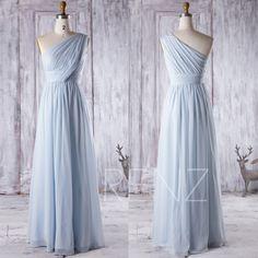 2016 Light Blue Bridesmaid Dress Long, One Shoulder Chiffon Maxi Dress, Ice Blue Wedding Dress, Ruched Bodice Prom Dress Floor Length (J083) by RenzRags on Etsy https://www.etsy.com/listing/463451738/2016-light-blue-bridesmaid-dress-long