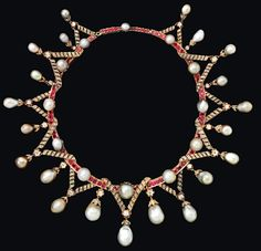 Marie Antoinette's Pearls, given as a gift to Lady Sutherland wife of the English Ambassador to Paris at the time she was taken to prison. The pearls were mounted later as the necklace above. In 1849 on the occasion of a family wedding.