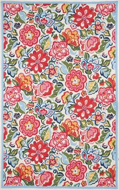 RugStudio presents Marcella Vera Bradley Hope Garden VBY060A Ivory-Multi Hand-Hooked Area Rug Very brightly colored