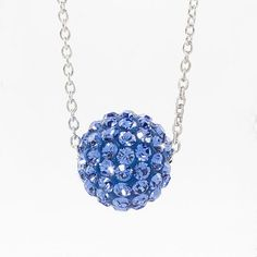 """Sapphire crystal Ceralun™ pavé ball swings on a delicate rhodium plated chain; 15"""" to 18"""". #september#birthstone"""